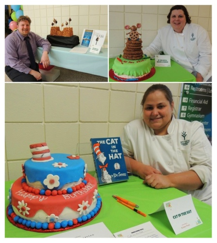 Entrants from 2013's Edible Book Festival. Clockwise from top right: Ivy Tech Northeast's director of Institutional Research Jeffrey Smith; student Michelle Habegger; and student Kristen Finch