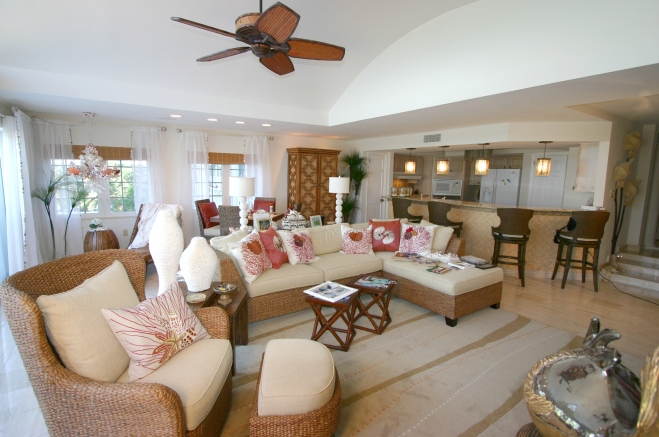 Carma Reincke's interior design portfolio includes the redesign of a villa in the Cayman Islands. Reincke worked with a team of contractors to transform all interiors in a three-week timeframe while working virtually around the clock.