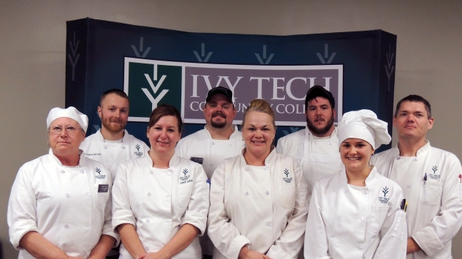 Ivy Tech Northeast's Hospitality Administration European Competition winners for 2015, from left: Susan Towsley, Christopher Knowlton, April Luna, Anthony Flanagan, Teresa Gerczeg, Brian Mongiello, Madeline Jacquay, and  Jamee Thiele.