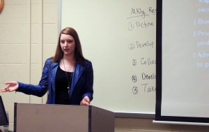 Katherine Binkley, a current ASAP student at Ivy Tech Northeast, gives an oral presentation in her Principles of Marketing 101 class. The deadline to apply for ASAP has been extended to May 1.