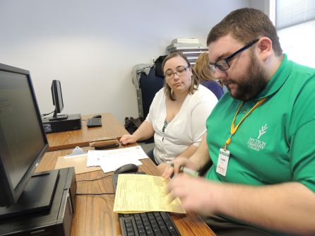 ccounting major and VITA volunteer Caleb Young assists Kristin Sears with her tax returns. Sears is the secretary in Ivy Tech Northeast's Dual Credit office.