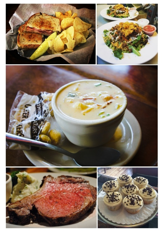Clockwise from top left: hot ham and swiss on rye special; taco salad special; cheesy potato soup; chocolate chip cupcakes; grilled prime rib special (photos from CS3's Instagram and Facebook feeds)