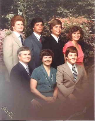 A Mosier family photo, circa the mid-'70s. Back row, from left: Rick Mosier, Roger Mosier, Greg Mosier, and Jerrilee Mosier. Front row, from left: Richard Mosier, Mary Mosier, and Doug Mosier