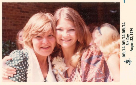 "A photo from Mosier's sorority days, the image is marked ""Delta Delta Delta, Bid Day, Aug. 22, 1974."""