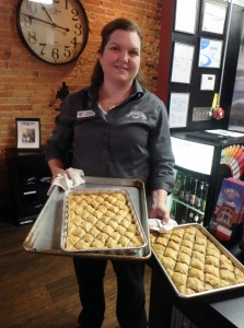 Ivy Tech Northeast grad Michelle Aschliman and her fresh-out-of-the-oven baklava.