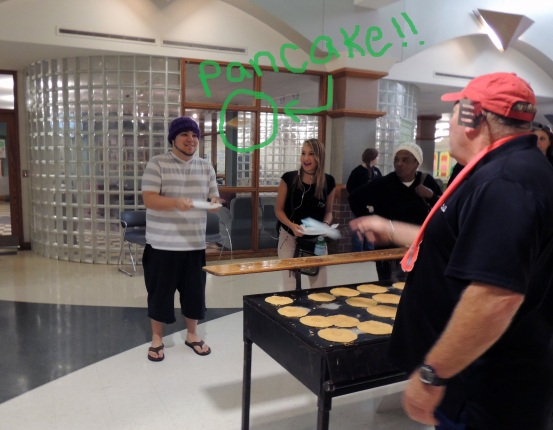 Ivy Tech Northeast student Nick Lowden gets in position to catch a pancake.