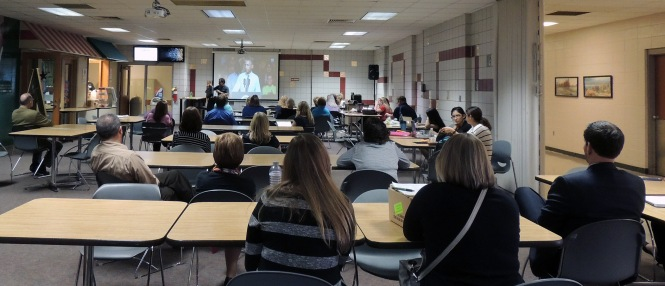 About 30 people gathered in Anthony Commons on Wednesday to watch President Obama introduce the College Promise Advisory Board to the country.