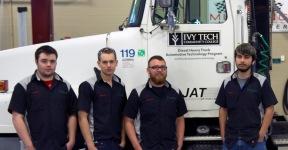 From left: Automotive technology students Ryan Wells, Lane Hoeppner, Jordan Jodway, and Daniel Niño.
