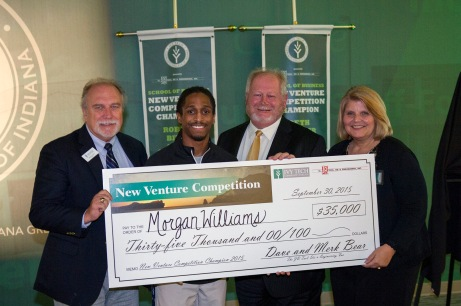 Morgan Williams won $35,000 on Wednesday night at Ivy Tech Northeast's 2015 New Venture Competition, in its fifth year. Williams is the founder of Elite Performance Scouting. From left: James Tolbert, Ivy Tech Northeast business administration assistant professor; Williams; Steve Piekarski, of ProFed Federal Credit Union; and Jerrilee K. Mosier, Ivy Tech Northeast chancellor.