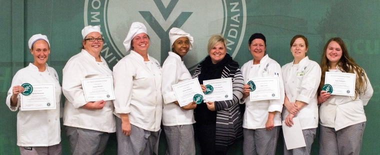 Eight hospitality administration students from Ivy Tech Community College Northeast won the College's European Competition, held Friday. They will travel to France in the spring to study the culinary arts. Winners are, from left: Rachel Bonkoski, of Auburn; Joanne Holscher, of Fort Wayne; Teresa Thurston, of Fort Wayne; DeEdra Robinson, of Fort Wayne; Brenda Zemaitis, of Fort Wayne; Julie Lowry, of Fort Wayne; Jeanette Win, of New Haven; and Tasha Fullington, of Angola.