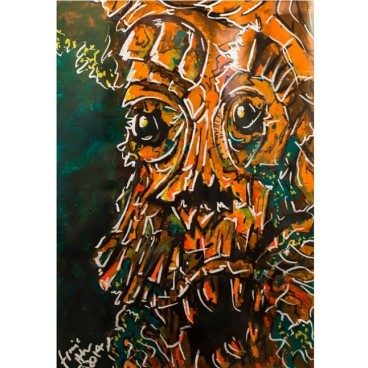 Treebeard, acrylic and ink on paper