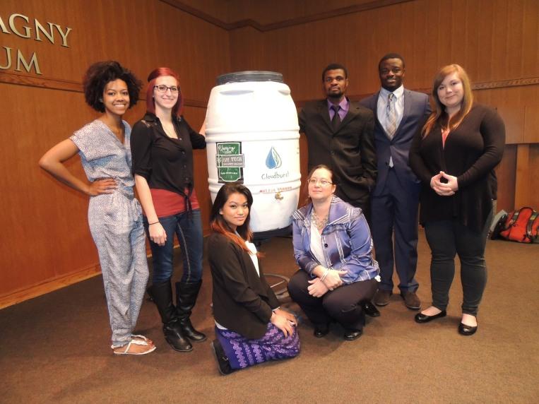 The Cloudburst team developed a rain barrel business venture during fall 2015. From left, members include Kennedy Jones, Rachel Jones, Aye Aung, Cara Macknick, Luckson Stieglitz, Corey Harris, and Ashley Fanson.
