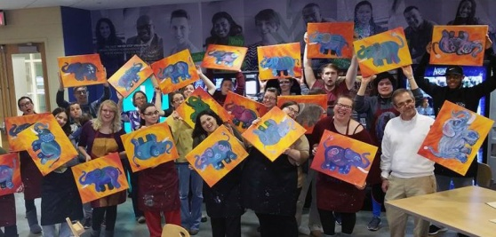 G.O.A.L. y Amigos, the Latino student organization at Ivy Tech Northeast, partnered with American Honors and the Associate Accelerated Program for a Painting with a Twist event back in January in the Blue Bamboo in the Student Life Center.