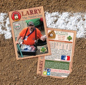 Each summer, Davis designs, autographs, and distributes his own Larry the Vendor Guy baseball card, highlighting statistics and fun facts about his alter ego.
