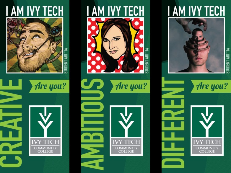 Pole banners hang at Coliseum Campus parking lot. Visual communication students provided the portraits.