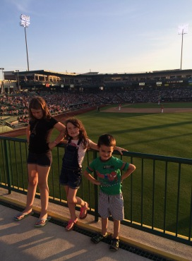 From left: Vanessa, Maddison, and Carter at the Ivy Tech TinCaps night this summer