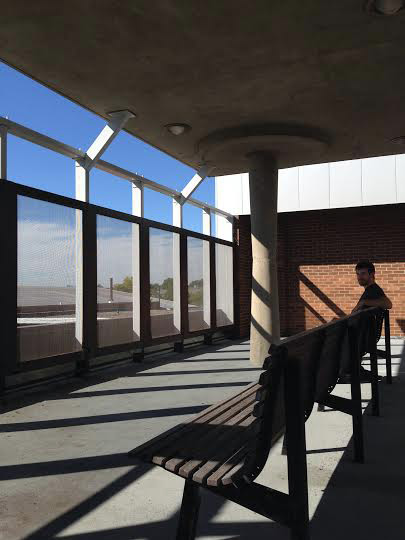 General studies student Gordon Beemer on the outdoor area on Harshman's second floor back in 2014.