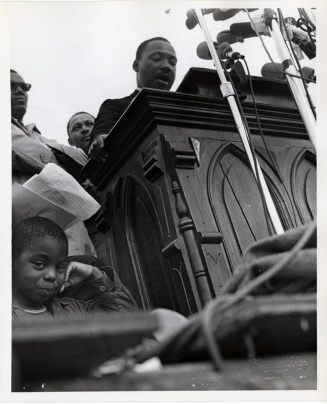 Martin Luther King Jr. speaking at the Montgomery March. (Photo courtesy PhotosForClass.com)