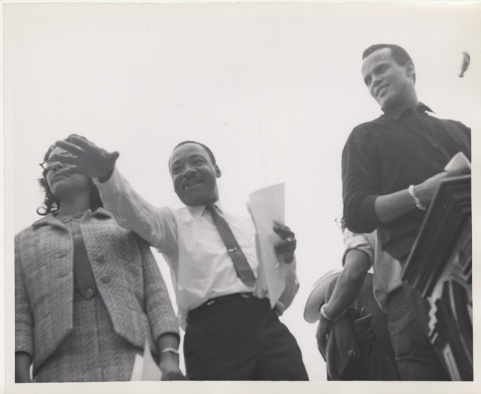 Martin Luther King Jr., and Harry Belafonte at the Montgomery March. (Photo courtesy PhotosForClass.com)