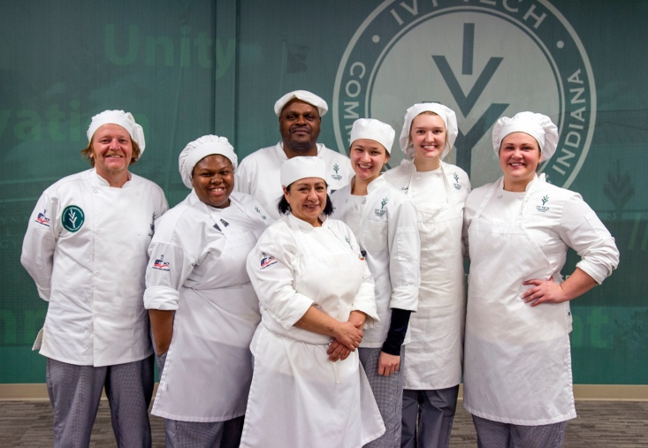 Eight hospitality administration students from Ivy Tech Community College Northeast won the College's European Competition, held Friday. They will travel to France and Germany in the spring to study the culinary arts. Winners are: (back row) Lawrence Davis; (front row, from left) John Croyle, Anisah Abdul-Azeez, Aura Barrera, Lydia Yaste, Catrina Zepke, Bethany Sorich; and (not pictured) John O'Donnell.
