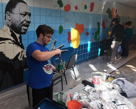 Visual communications students at Ivy Tech Northeast designed and painted the Martin Luther King Jr. mural on the wall in the Student Life Center last semester. The mural, part of the College's statewide Martin Luther King Jr. Legacy Project, will be dedicated Jan. 18.