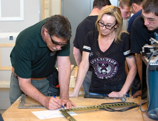 Jonathan Keck, a Construction Technology instructor at Ivy Tech Northeast, teaches a class. Construction Technology is one of two construction programs at the College to receive the Department of Education's Indiana Career and Technical Education Award for Excellence.