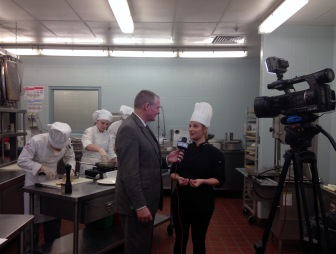 Kent Hormann with Fort Wayne's NBC interviews Sarah Hughes, hospitality administration instructor.