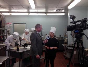 Kent Hormann with Fort Wayne's NBC interviews Sarah Hughes, hospitality administration instructor.