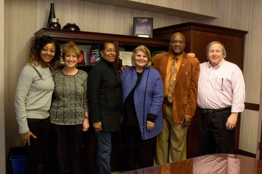Unity Performing Arts Foundation Inc. and Ivy Tech Northeast's administrations and board members (l-r): Niyoki Chapman, Valerie Eakins, DaVita Mitchell, Jerrilee Mosier, Marshall White, and Marc Silver