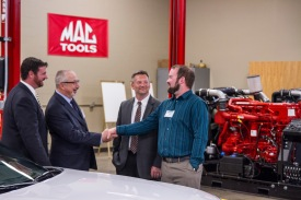 Jeff Kuester, program manager for the Mopar Career Automotive Program; Brad Yocca, director of Education Alliances and Development for Fiat Chrysler Automobiles; Jeff Nielsen, program manager for the National Coalition of Certification Centers, and Nick Goodnight, assistant professor of automotive technology, discuss the Mopar training partnership's launch.