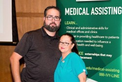 Tisha Knott and her husband, Daniel, at her Medical Assisting pinning ceremony after she was accepted into the program in September 2017